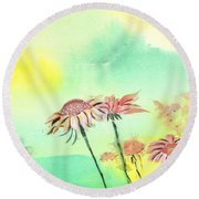 Flowers 2 Round Beach Towel by Anil Nene