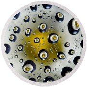 Flowers In Water Drops Round Beach Towel