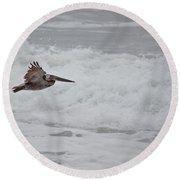 flying Pelican Round Beach Towel