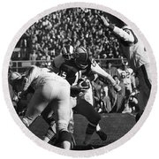 Football Game, 1965 Round Beach Towel