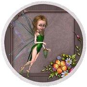 Forest Fairy In The Garden Round Beach Towel