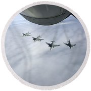 Formation Of Luftwaffe F-4f Phantom IIs Round Beach Towel
