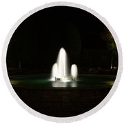 Fountain At Night Round Beach Towel