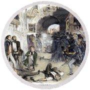 France: Paris Riot, 1851 Round Beach Towel