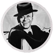 Frank In Black And White Round Beach Towel