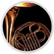 French Horn With Sparks Round Beach Towel