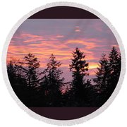Frosted Morning Silhouette Round Beach Towel