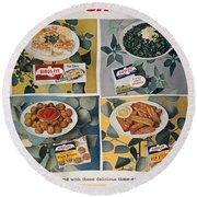 Frozen Food Ad, 1957 Round Beach Towel
