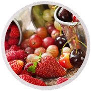 Fruits And Berries Round Beach Towel by Elena Elisseeva