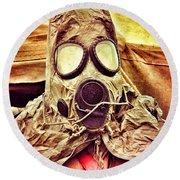 Gas Mask Round Beach Towel