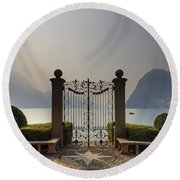 Gateway To The Lake Of Lugano Round Beach Towel