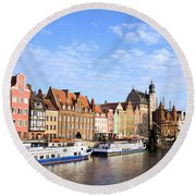 Gdansk Old Town In Poland Round Beach Towel