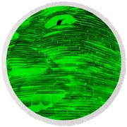 Gentle Giant In Negative Green Round Beach Towel