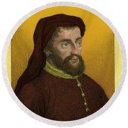 Geoffrey Chaucer, Father Of English Round Beach Towel