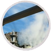 Geothermal Power Plant Round Beach Towel