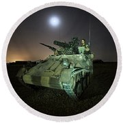 German Army Crew In A Wiesel 1 Atm Tow Round Beach Towel