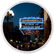 Ghirardelli Chocolate Signs At Night Round Beach Towel