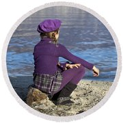 Girl At A Lake Round Beach Towel by Joana Kruse