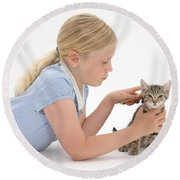 Girl Grooming Kitten Round Beach Towel
