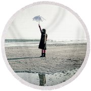 Girl On The Beach With Parasol Round Beach Towel by Joana Kruse