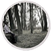 Girl Sitting On A Wooden Bench In The Forest Against The Light Round Beach Towel by Joana Kruse