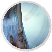 Girl With Baby Doll Round Beach Towel