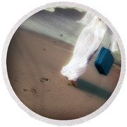Girl With Suitcase Round Beach Towel by Joana Kruse