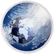 Globe With Fiber Optics Round Beach Towel