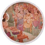 Gods Entertaining Mahavira Round Beach Towel