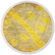 Golden Tree Pattern On Paper Round Beach Towel by Setsiri Silapasuwanchai