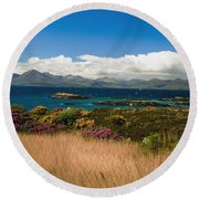 Gorse And Rhododendron Bushes Round Beach Towel