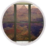 Grand Canyon Springtime Bay Window View Round Beach Towel