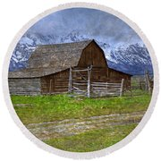 Grand Teton Iconic Mormon Barn Fence Spring Storm Clouds Round Beach Towel