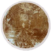 Grants Canal, 1862 Round Beach Towel