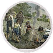 Grasshopper Plague, 1875 Round Beach Towel