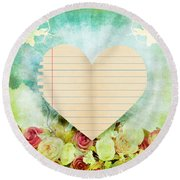 greeting card Valentine day Round Beach Towel