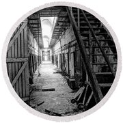 Grim Cell Block In Philadelphia Eastern State Penitentiary Round Beach Towel
