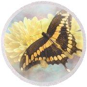 Grunge Giant Swallowtail Round Beach Towel