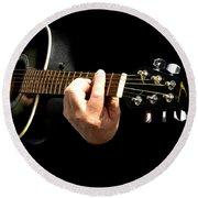 Guitar In Hands  Round Beach Towel