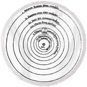 Heliocentric Universe, Copernicus, 1543 Round Beach Towel