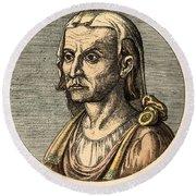Hippocrates, Greek Physician Round Beach Towel