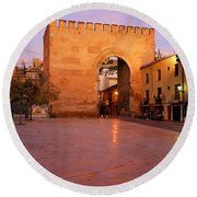 Historic Door In Granada Elvira Arch Round Beach Towel