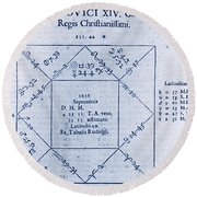 Horoscope Chart For Louis Xiv, 1661 Round Beach Towel