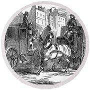 Horse Carriage, 1853 Round Beach Towel