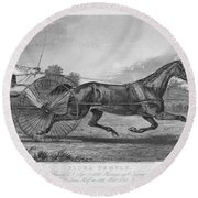 Horse Racing, 1857 Round Beach Towel