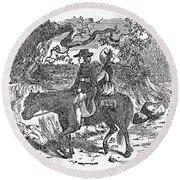 Horseback Riding Round Beach Towel