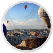 Hot Air Balloons Over Cappadocia Round Beach Towel by RicardMN Photography