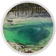 Hot Springs Yellowstone National Park Round Beach Towel