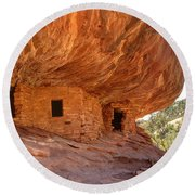 House On Fire Anasazi Indian Ruins Round Beach Towel