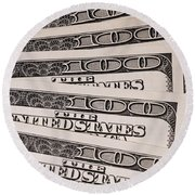 Hundred Dollar Bills Round Beach Towel